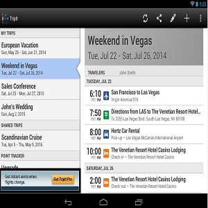 Tripit Travel Organiser Android Application